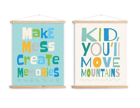 2 קנבסים ציטוטי השראה לילדים עם לייסטים מעץ