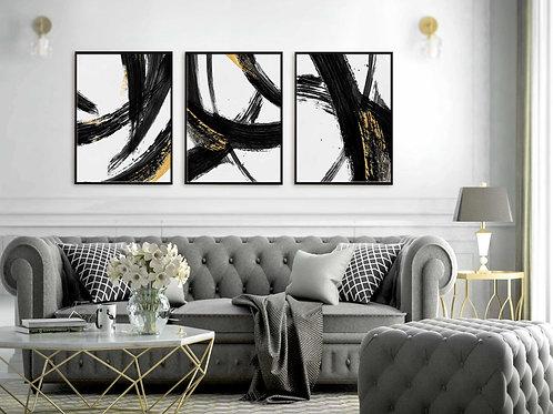 סט 3 הדפסים אבסטרקט משיכות מכחול שחור לבן זהב