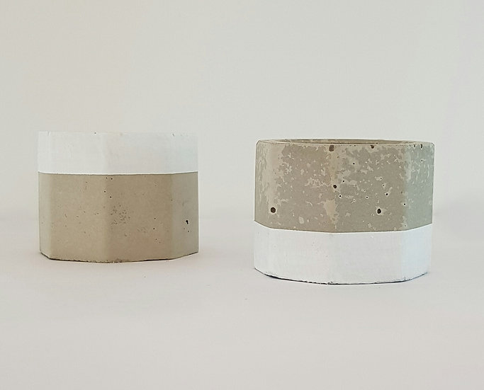 Concrete Tea Light Holder Set - Top & Tail - White Trim