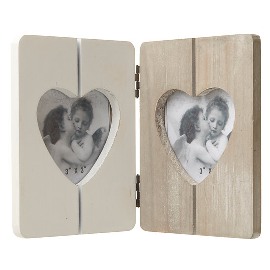 Rustic Heart Double Photo Frame