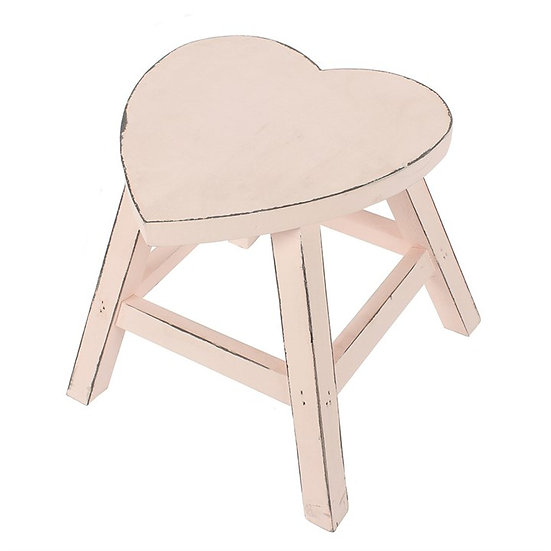 Wooden Heart Stool - Pink