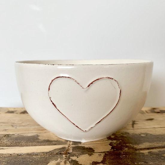 Embossed Heart Bowl - Cream