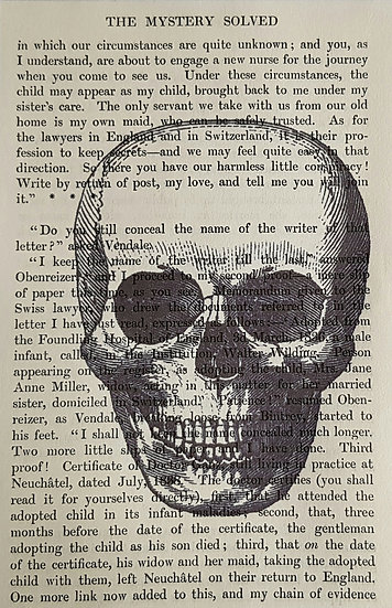Skull - Vintage Book Page - Art Print - 4 x 6 Inch