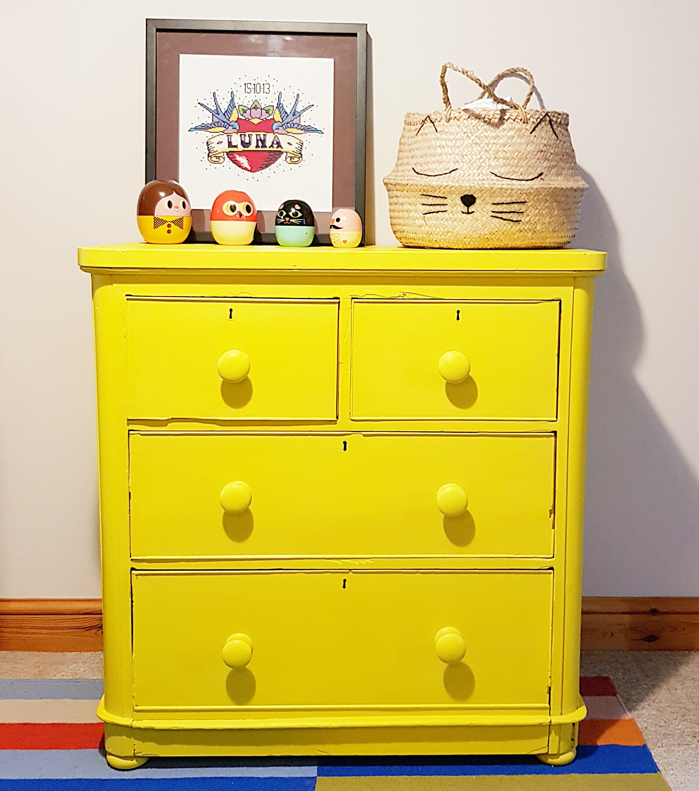Yellow Vintage Chest of Drawers