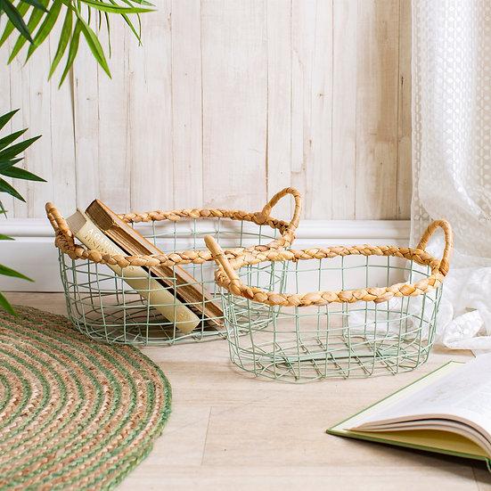 Green Wire Storage Baskets - Set of 2
