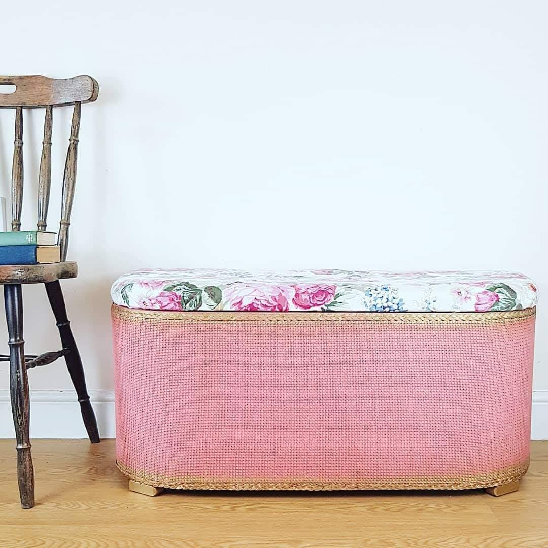 Lloyd Loom Ottoman - Pink & Gold