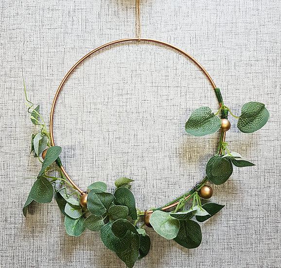 Faux Flower - Gold Hoop Wreath - 10in - Eucalyptus