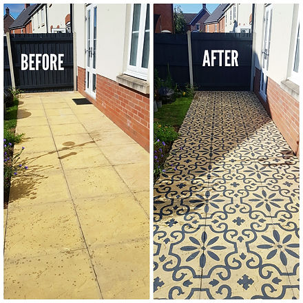 stenciled patio makeover before and afte