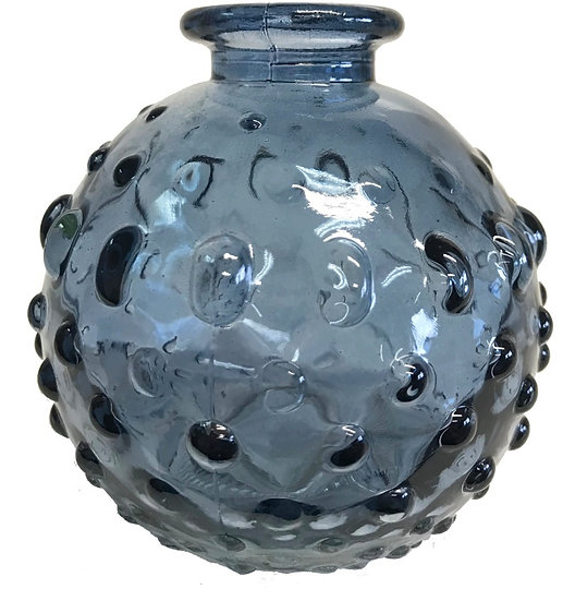 Dimpled Glass Bottle - Blue