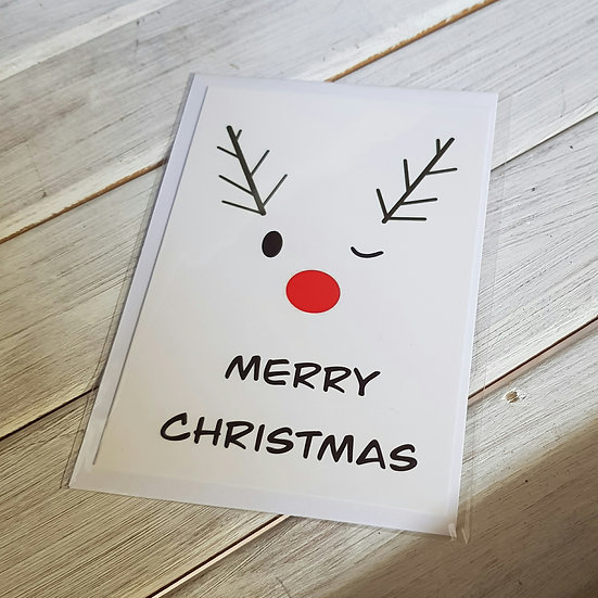Winking Reindeer - Hand Designed Christmas Card