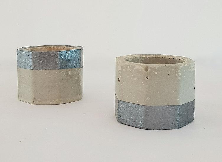 Concrete Tea Light Holder Set - Top & Tail - Silver Trim
