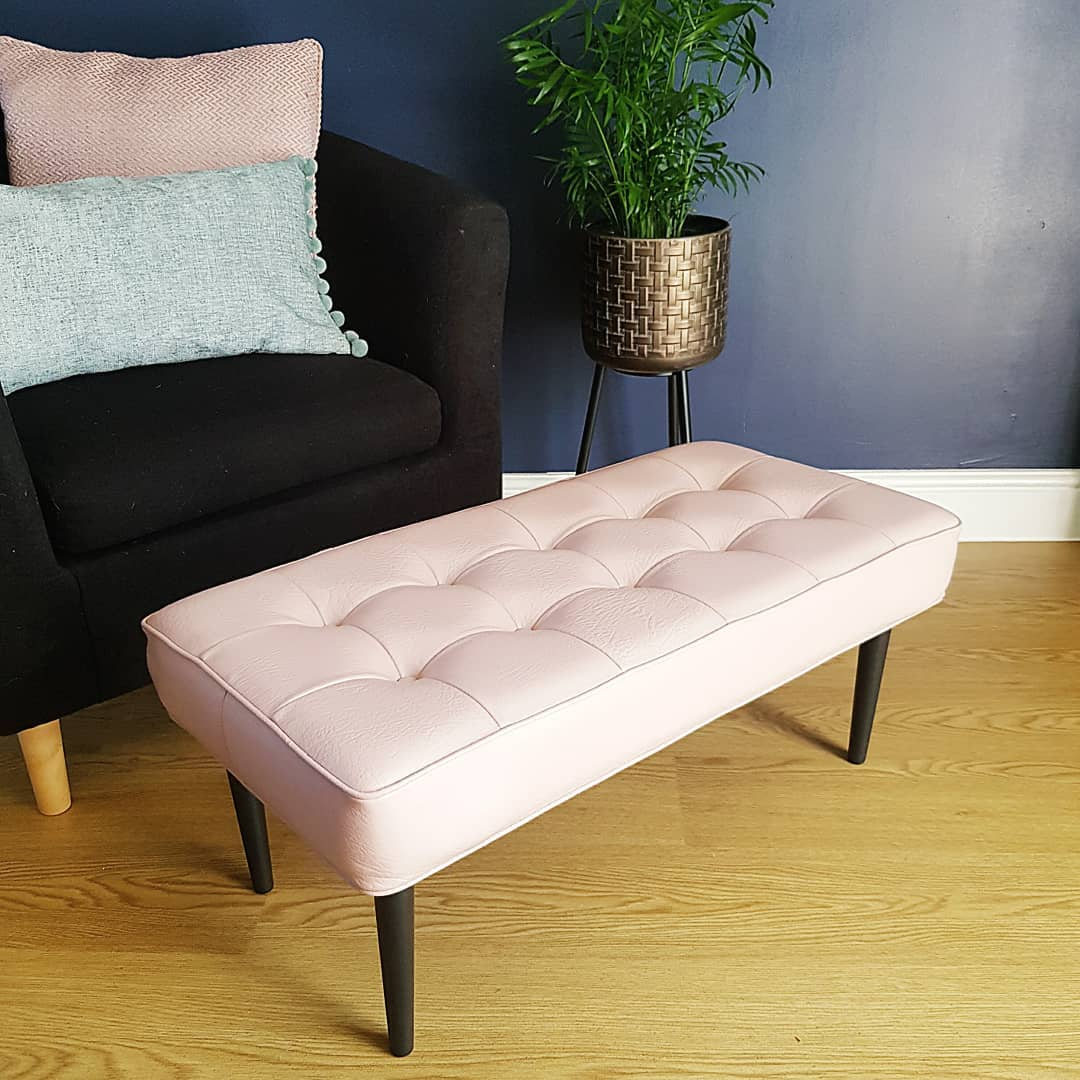 Vintage Dusky Pink Leather Footstool.jpg