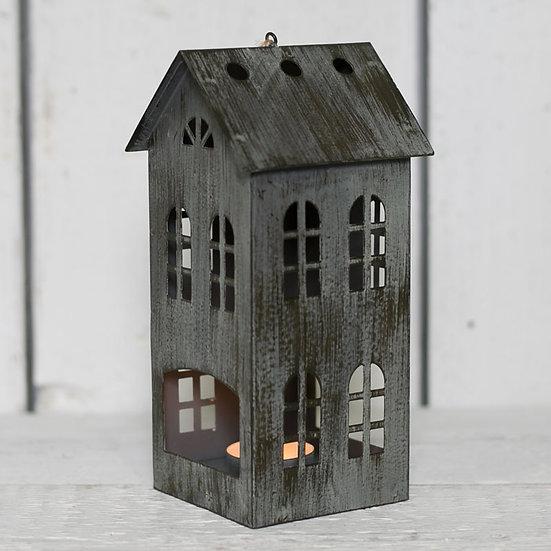 Distressed Metal House Lantern - 20.5cm