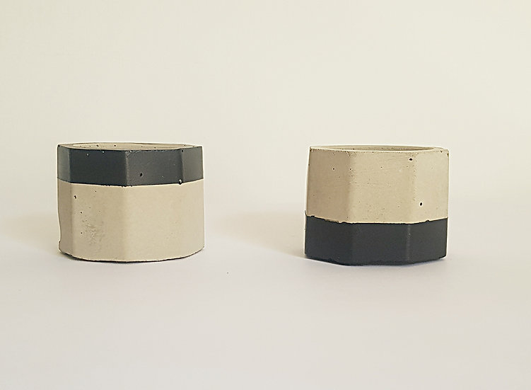 Concrete Tea Light Holder Set - Top & Tail - Black Trim
