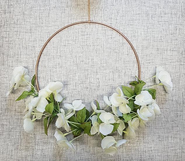 Faux Flower - Copper Hoop Wreath - 10in - White Blossom