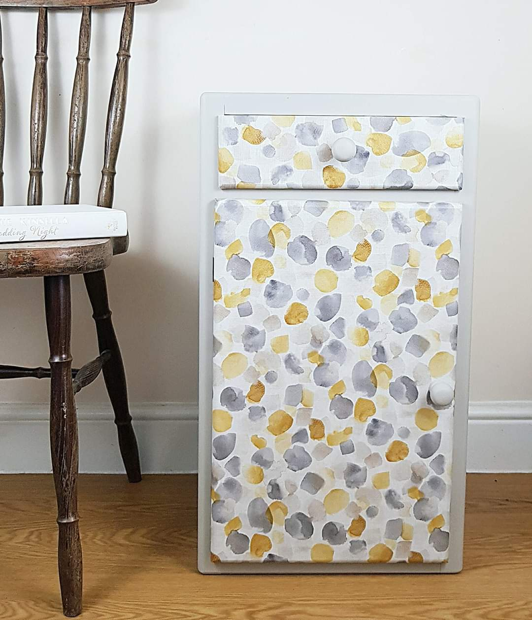 Grey and Mustard Bedside Cupboard