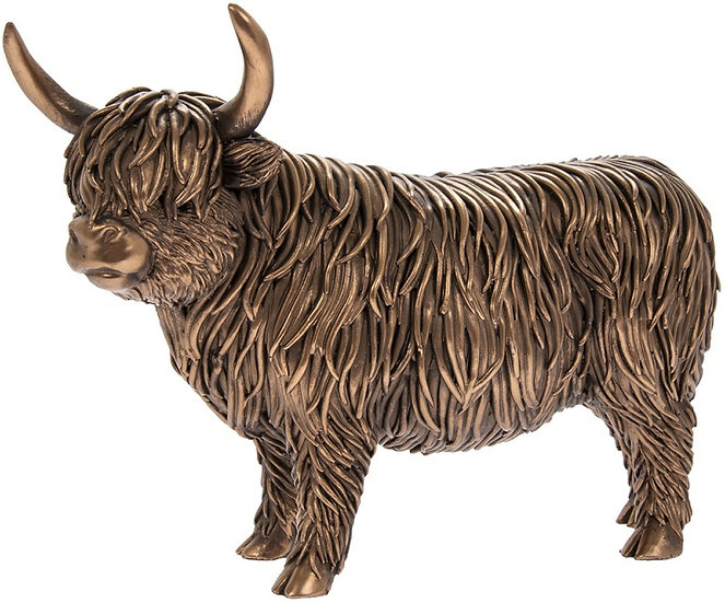 Bronzed Highland Cow Statue