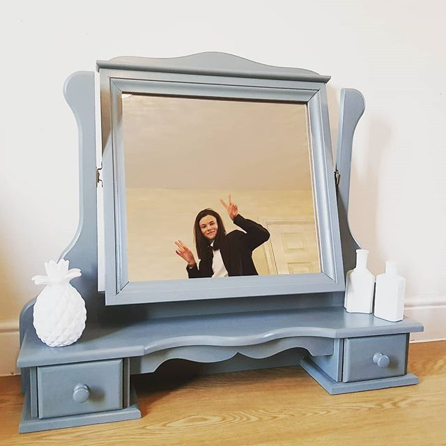 Grey Dressing Table Swivel Mirror