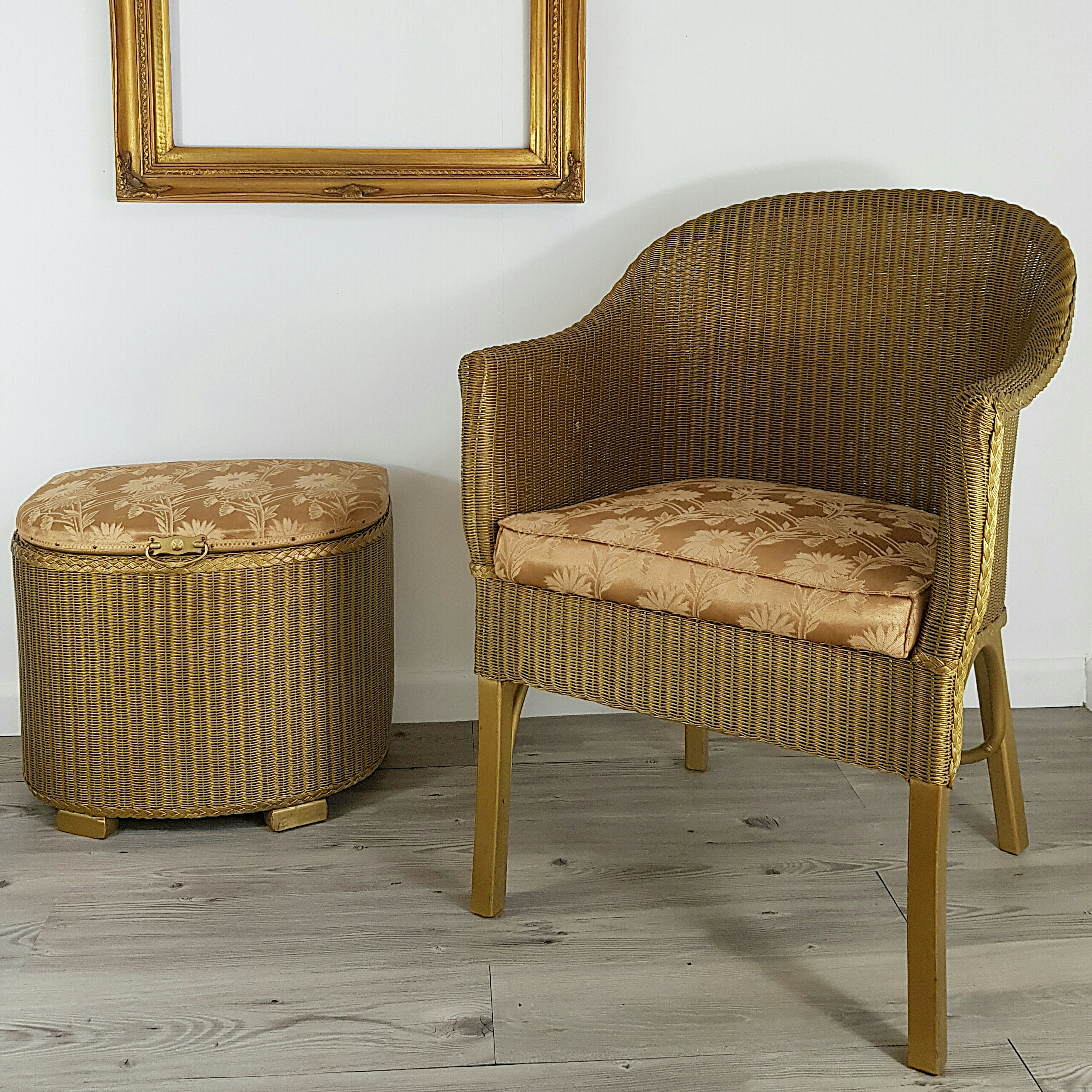 Lloyd Loom Armchair and Storage Footstool - Gold