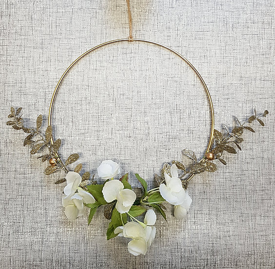 Faux Flower - Gold Hoop Wreath - 10in - Gold Spray & Blossom