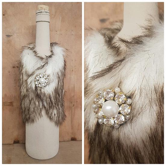 Faux Fur Coat - Bottle Cover