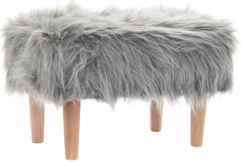 Faux Fur Shaggy Foot Stool - Grey