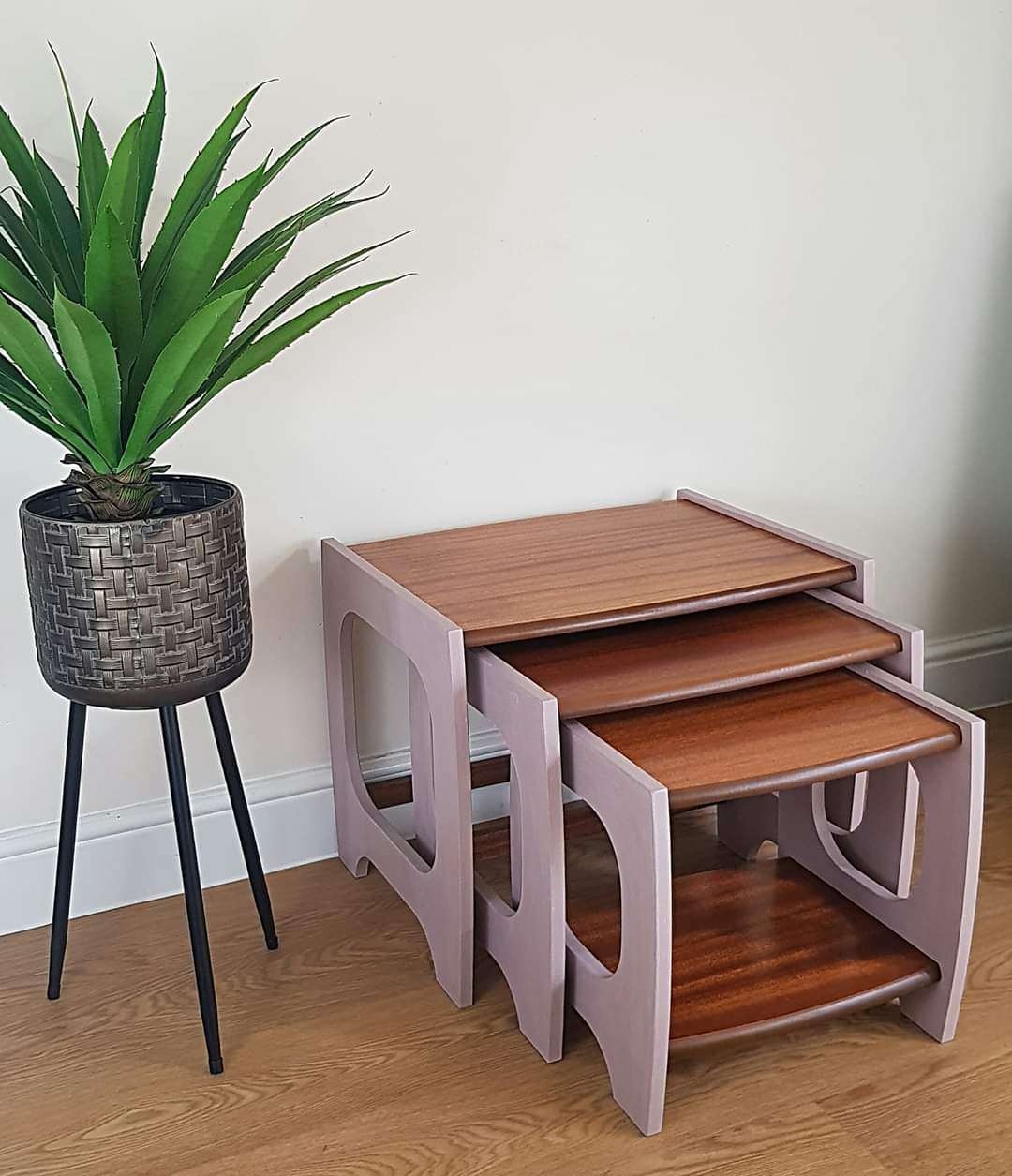 Mid Century Nested Tables - Damask Pink & Teak