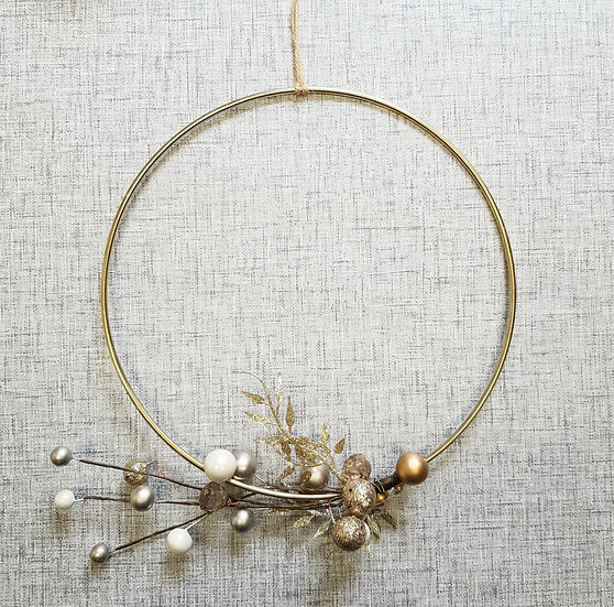 Faux Flower - Gold Hoop Wreath - 10in - Pearl & Glitter Spray