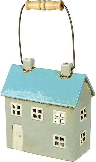 Ceramic House - T Light Lantern with Handle