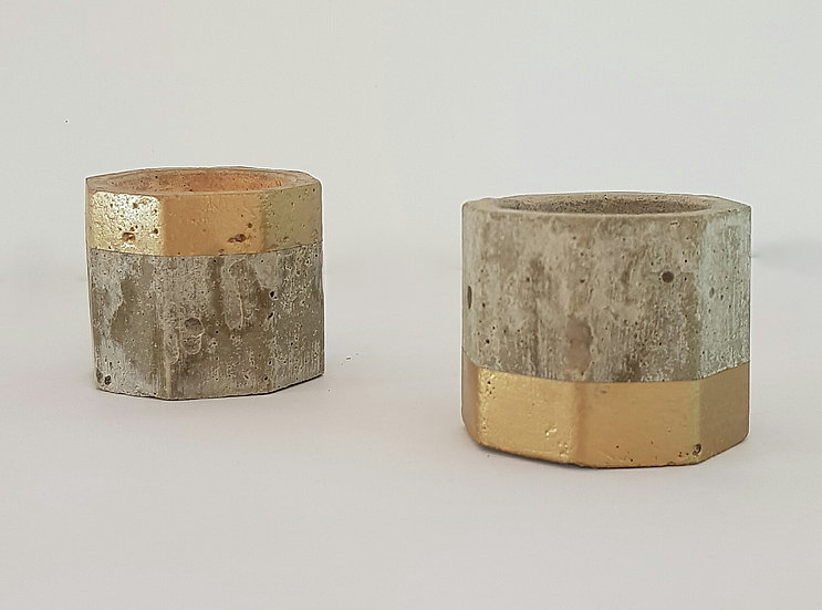 Concrete Tea Light Holder Set - Top & Tail - Gold Trim