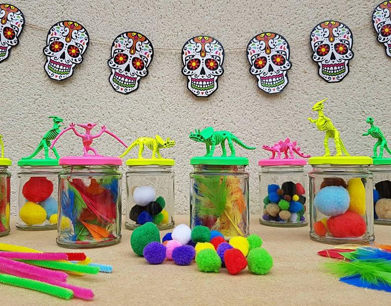 Neon Dinosaur Storage Jars