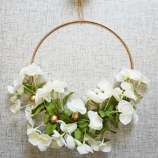 Faux Flower - Copper Hoop Wreath - 10in - White Blossom & Pearl