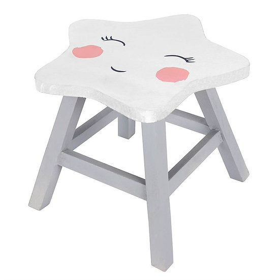 Wooden Star Face Stool