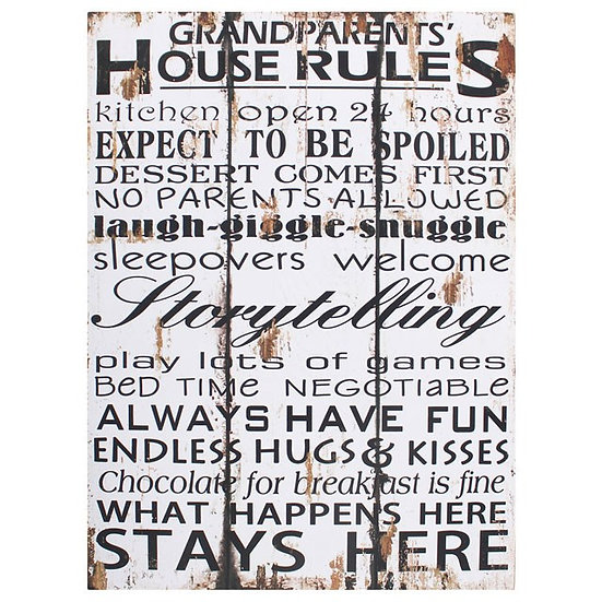 Grandparents House Rules - Wall Sign