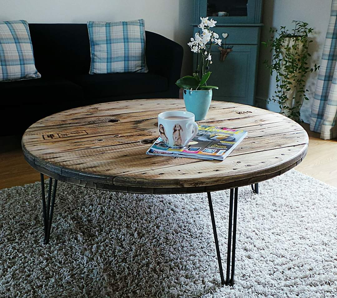 Cable Reel Coffee Table on Hair Pin Legs