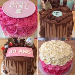 Baby shower, 30 ans, Kinder cake et rose cake