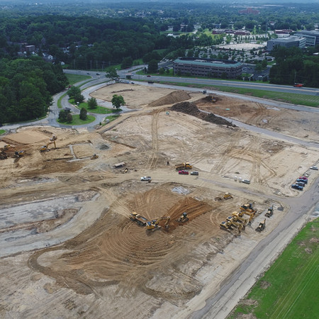 Aerial of Barley Mill after old buildings have been demolished - August 2020