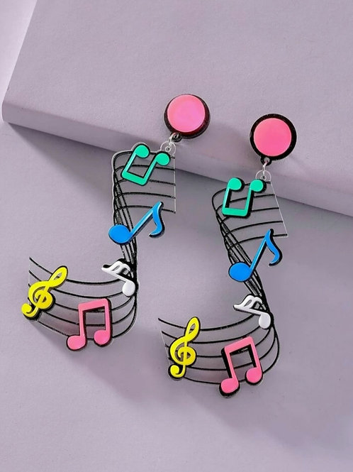 Musical notes large earrings