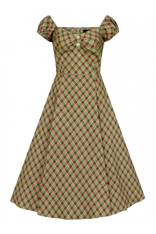 Collectif doll dress green & orange check