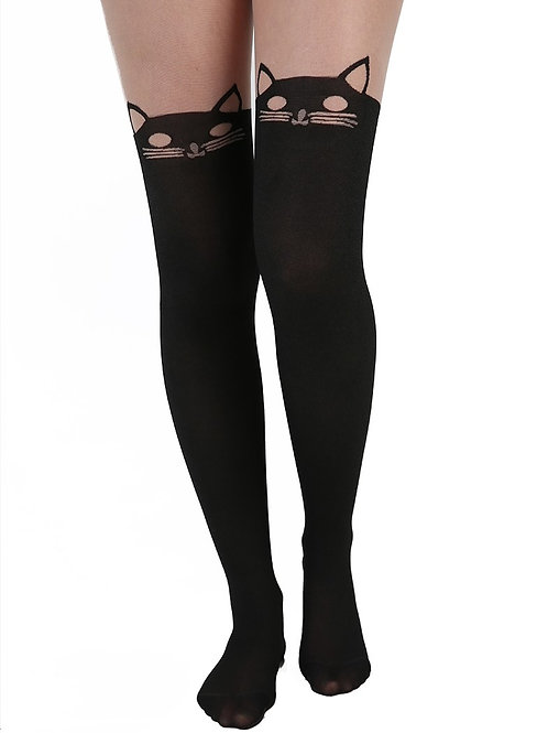 Over knee kitty tights