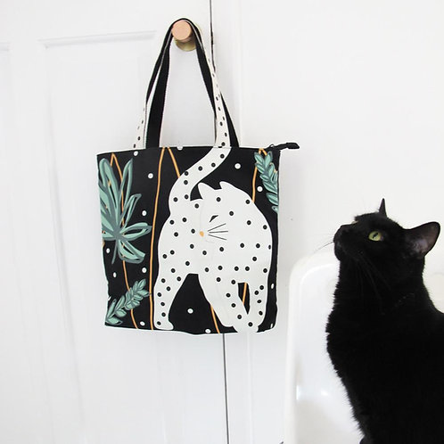 House of Disaster cat tote bag