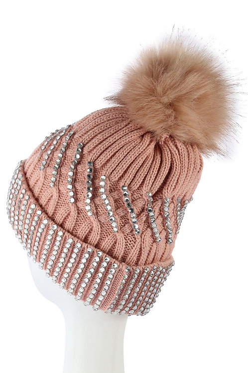 Diamante beanie hat pink fleece lined