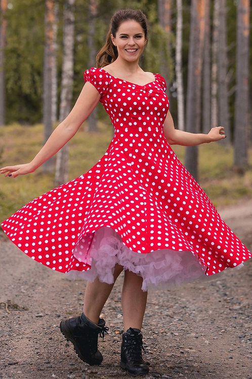 Collectif red polka dot doll dress