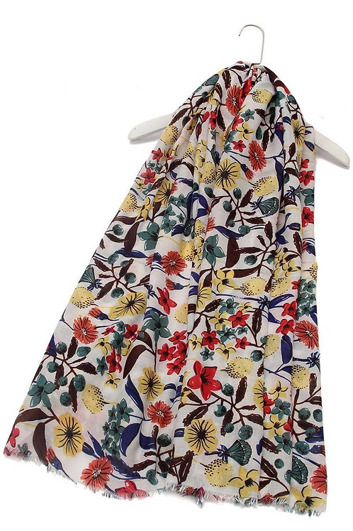 Garden floral print scarf