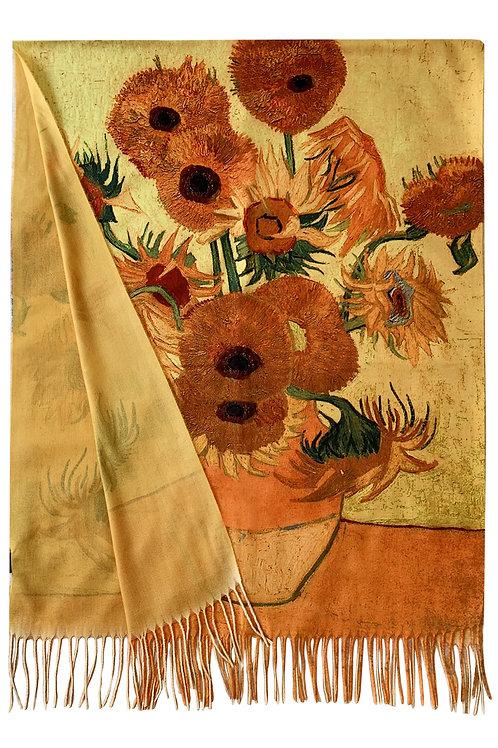 Van Gogh 'sunflowers wool scarf
