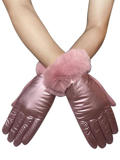 Metallic faux fur trim touch screen gloves
