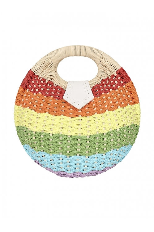Collectif rainbow wicker bag