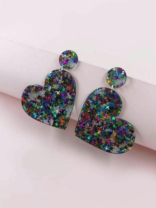 Sparkly heart earrings