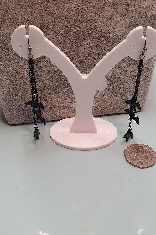 Dangly bat earrings