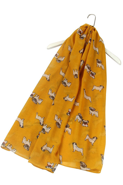 Pug print mustard lightweight scarf